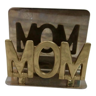 """Vintage Brass """"MOM"""" Desk Letter Organiser"""