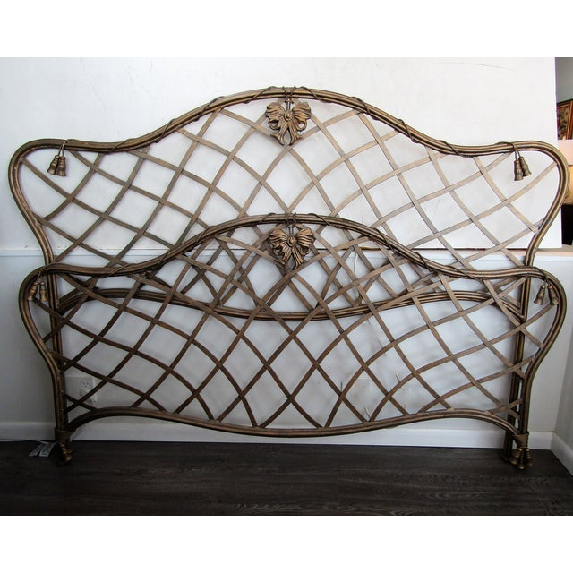 1990s 1990s Art Nouveau Iron Bow and Tassel King Bedframe For Sale - Image 5 of 11