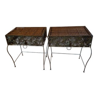 Vintage Elephant Wicker and Wrought Iron Side Tables With Drawer - a Pair For Sale