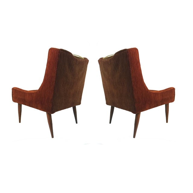 Harvey Probber Sculptural Midcentury Harvey Probber Slipper Lounge Chairs with Walnut Detail For Sale - Image 4 of 5