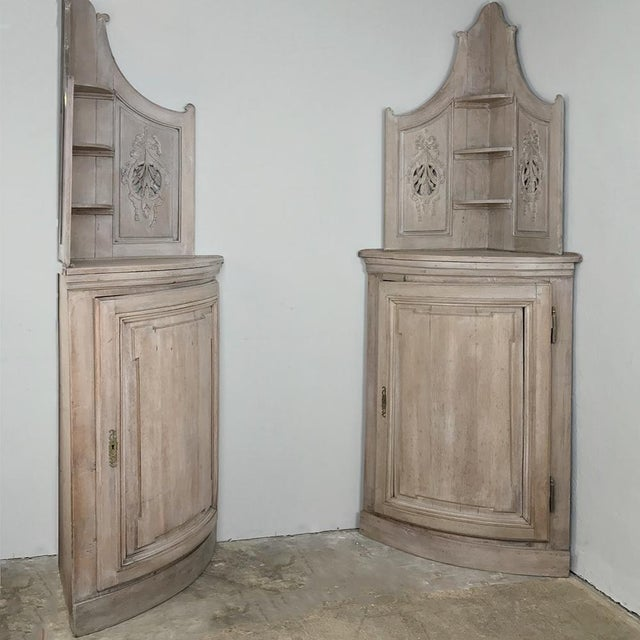 Pair 19th Century Country French Stripped Oak Corner Cabinets is a rare find indeed~ especially when each has a rounded...