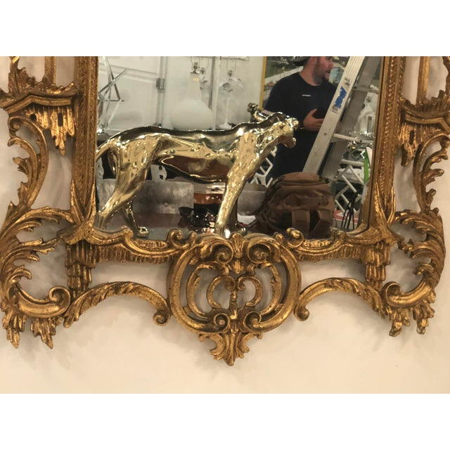 Gold Vintage Chinoiserie Italian Labarge Carved Wood Pagoda Bells Wall Mirror For Sale - Image 8 of 13