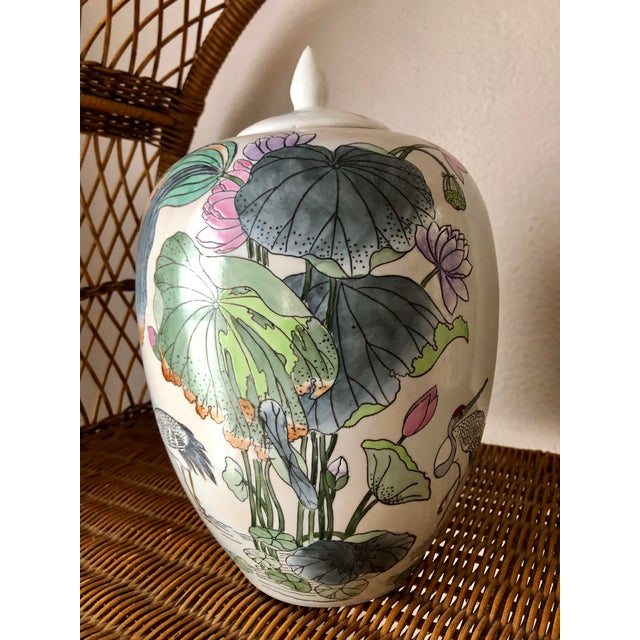 Ginger Jar With Water Lillies & Cranes For Sale In Charleston - Image 6 of 13