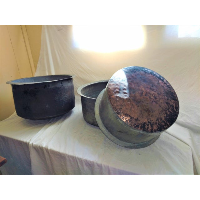 Copper Antique Ceylonese Hammered Metal Copper Bottom Cauldrons - Set of 3 For Sale - Image 7 of 13