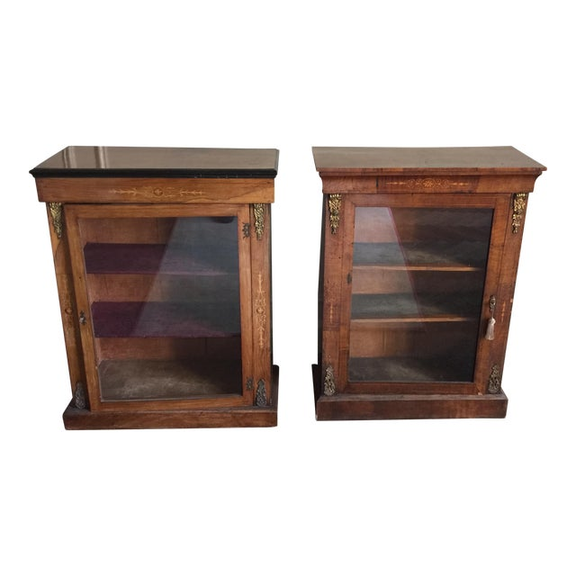 Victorian Inlaid Walnut Low Bookcases - a Pair For Sale