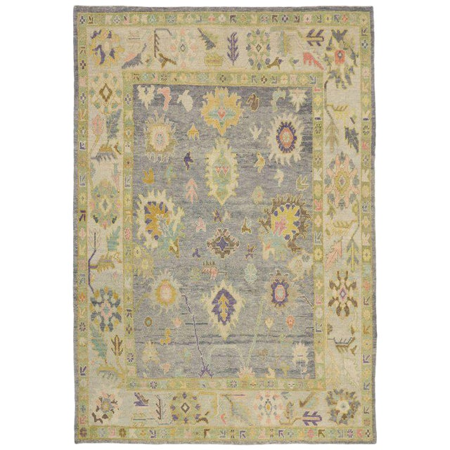 Contemporary Turkish Oushak Rug in Pastel Colors with Tribal Boho Chic Style For Sale