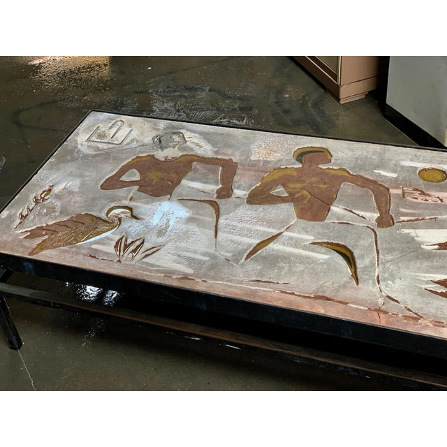 Modern 1960s Long Heavy Mid-Century Signed Stone Egyptian Scene Carved Coffee Table For Sale - Image 3 of 11