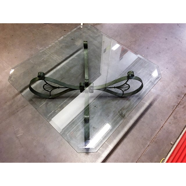 Ornate Square Iron & Beveled Glass Coffee Table - Image 7 of 7