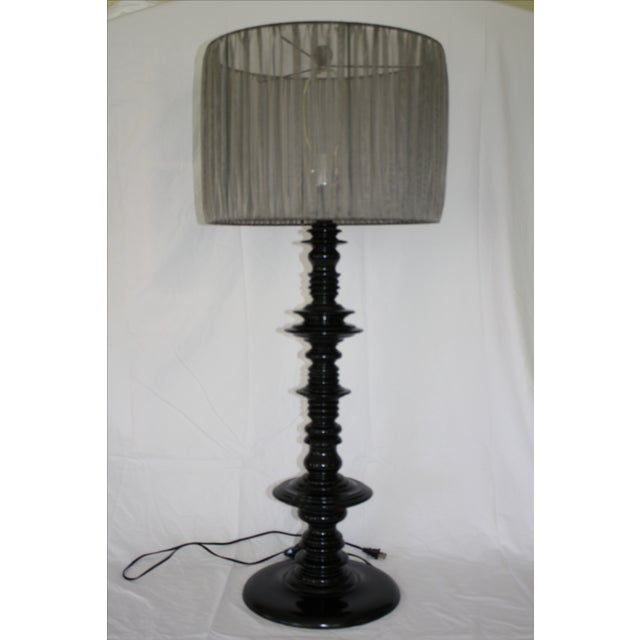 Modern Large Scale Lacquered Wood Spindle Lamp For Sale - Image 3 of 6