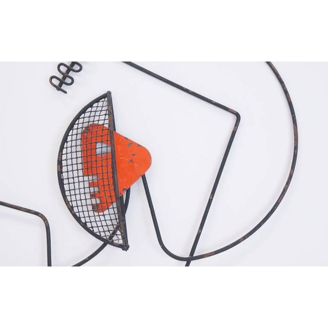 Mid-Century Modern Pair of Frederic Weinberg Fencing Wire Wall Sculptures For Sale - Image 3 of 8