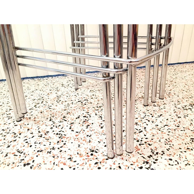 Italian Chrome Bar Stools - Set of 3 For Sale - Image 10 of 13