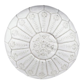 Embroidered Leather Pouf - White on White Starbrst (Stuffed)