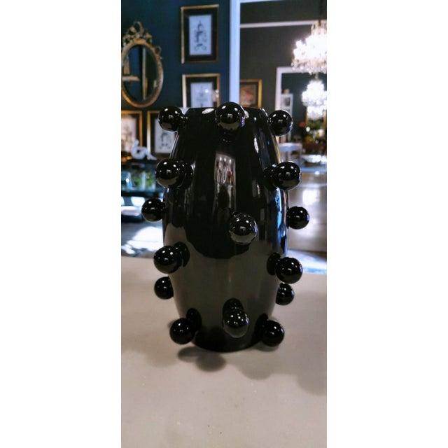 Black Polished Handmade Ceramic Sculpture Vase For Sale - Image 10 of 13