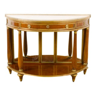 18th Century French Demi-Lune Mahogany Server with Marble Top For Sale