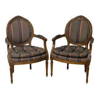 French Louis XVI Style Quality Pair of Fauteuils Arm Chairs