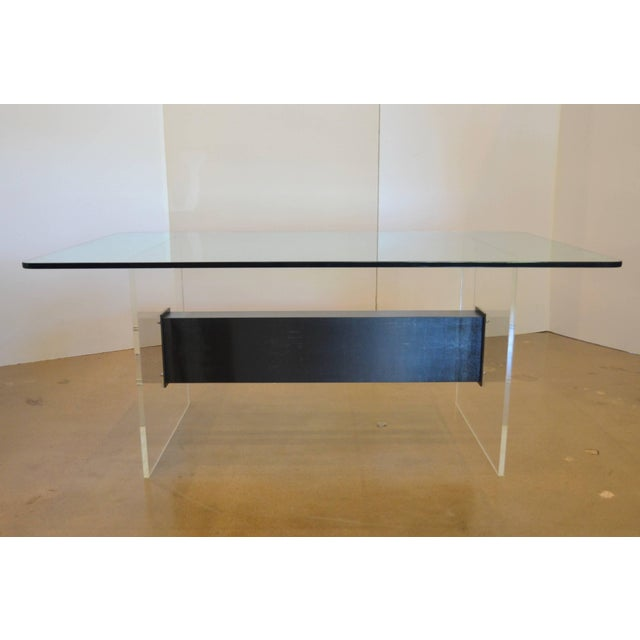 Lucite, Glass and Steel Dining Table or Desk For Sale - Image 4 of 11