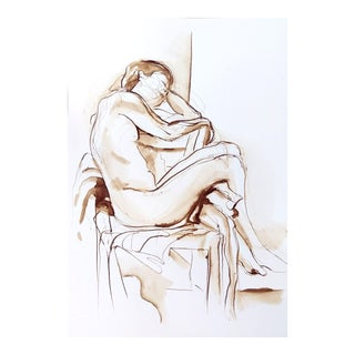 """Original Framed Ink Figure Drawing, """"Female Nude With Legs Over Chair"""" by Michelle Arnold Paine For Sale"""