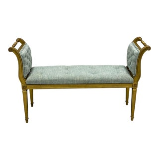 1960s French Style Giltwood Tufted Linen Bench For Sale