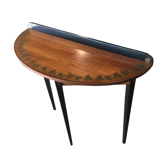 Hitchcock Black/Harvest Demilune Console Table For Sale