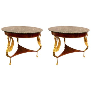 19th-20th Century Marble-Top Gilt Swan Tables - a Pair