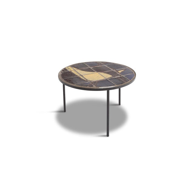 Metal Mid-Century Coffee Table With Black Steel Frame & Mosaic Inlay For Sale - Image 7 of 7