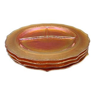 1950s 4 Vintage Federal Glass Normandie Iridescent Glass Grill Plates - Set of 4 For Sale