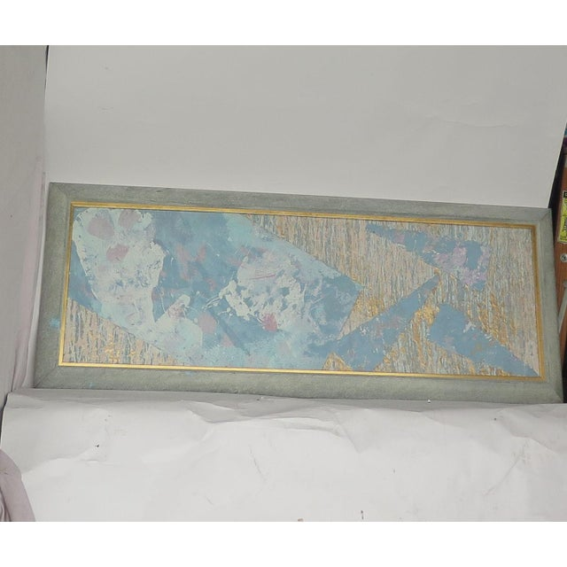 1980s 1980's Framed Paper & Paint Collage For Sale - Image 5 of 5