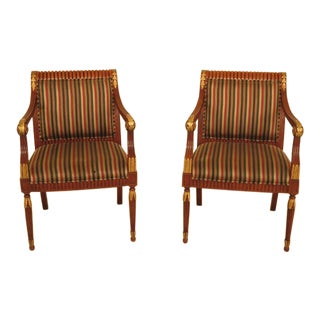 Councill Craftsmen Open Upholstered Arm Chairs - a Pair