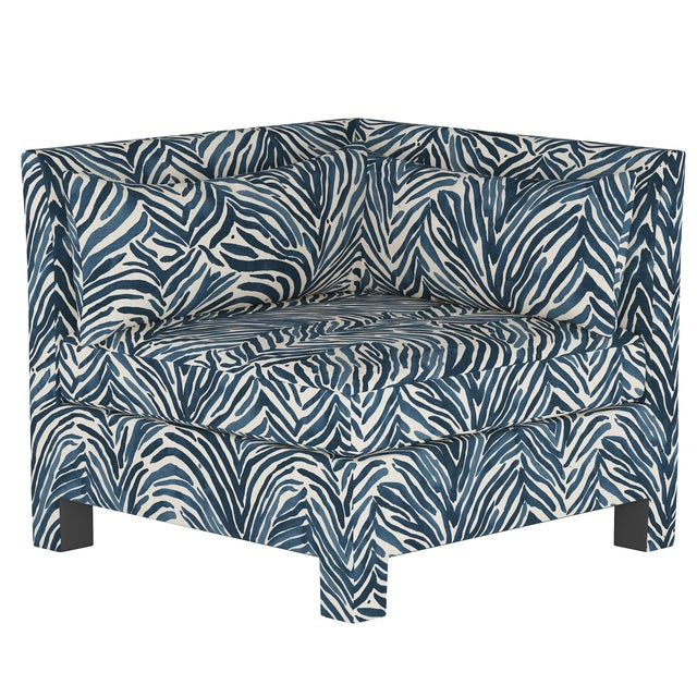 Textile Washed Zebra Blue Corner Chair For Sale - Image 7 of 7