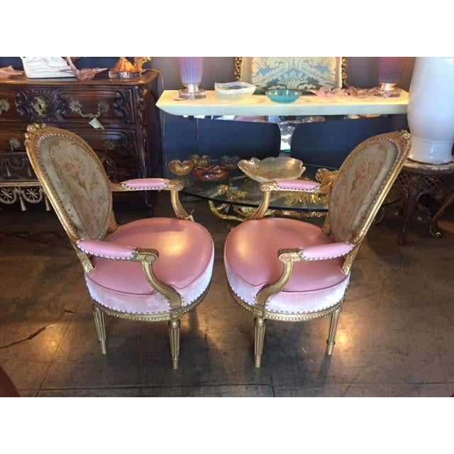 19th Century French Carved Gilt & Pink Leather Aubusson Back Arm Chairs - a Pair For Sale - Image 4 of 13