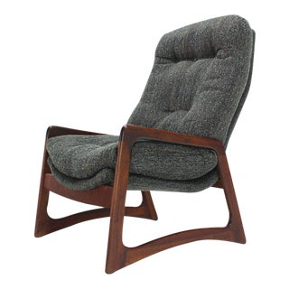 Adrian Pearsall Oiled Walnut Lounge Chair With New Upholstery For Sale