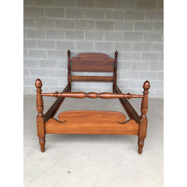 Vintage Chippendale Style Solid Mahogany Twin Bed. Excellent Antique Furniture Condition. Normal Age Wear. High Quality...