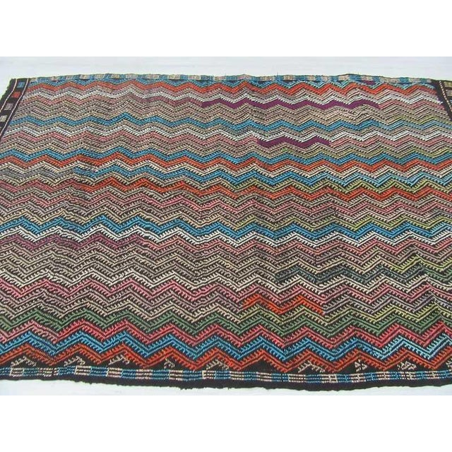 Vintage Turkish Kilim Decorative Embroidered Rug - 6′4″ × 9′8″ For Sale - Image 4 of 6