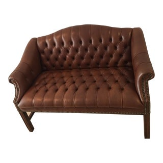 Petite Chesterfield Leather Settee
