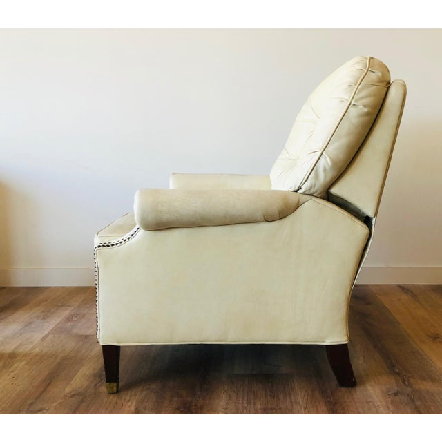 Vintage Distressed Leather Tufted Chair With Ottoman For Sale - Image 12 of 13