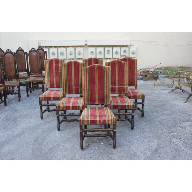 Monumental Set Of Louis XIII Style Solid Walnut Os De Mouton Dining Chairs - Set of 6 - Image 11 of 11