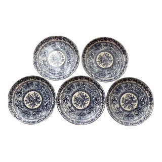 222 Fifth Blue Dynasty Blue & White Plates - Set of 5 For Sale
