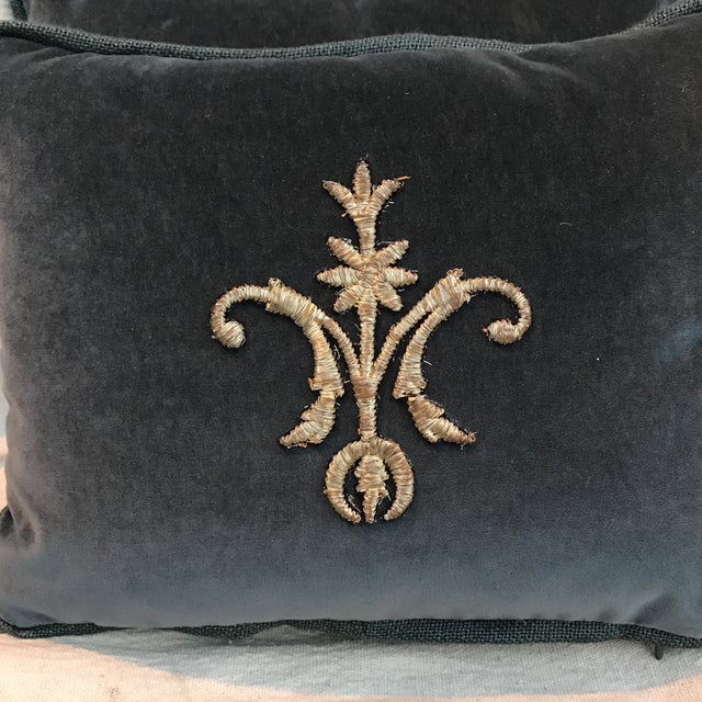 Metallic Silver Appliqué Velvet Pillows - A Pair - Image 3 of 5