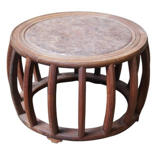 20th Century Chinese Oriental Hardwood Burled Elm Barrel Drum Table For Sale