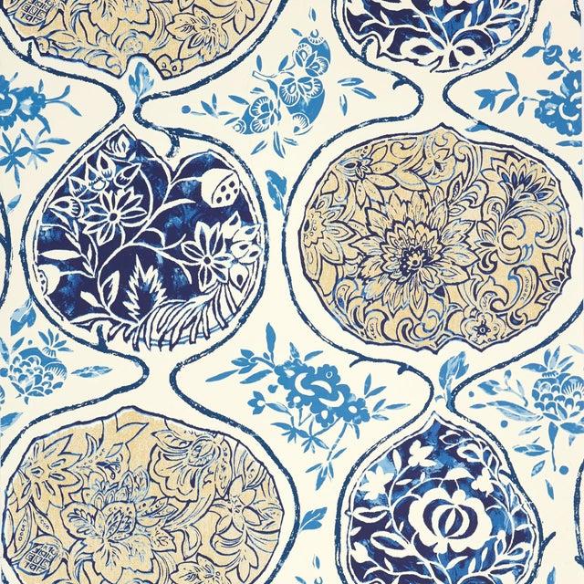 Sample - Schumacher Katsugi Wallpaper in Blues For Sale