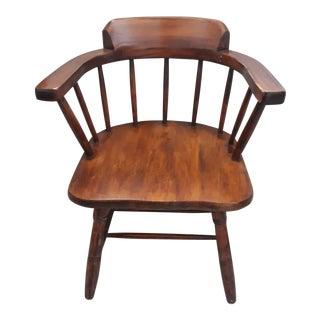 Vintage Mid-Century Wood Barrel Back Captains Chair For Sale