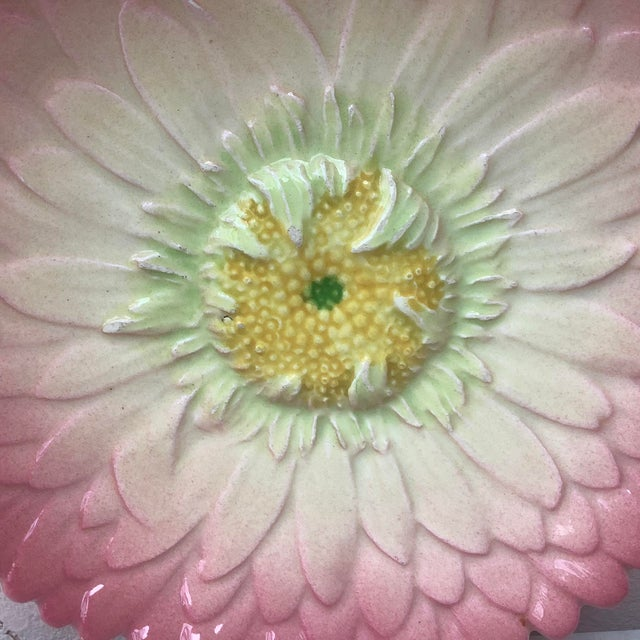 Art Nouveau Late 19th Century Majolica Pink Daisy Plate Delphin Massier For Sale - Image 3 of 6