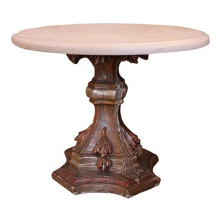 19th C. French Carved Gilt Base Limestone Top Table
