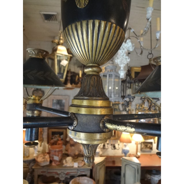 French 19th Century French Bronze Chandelier With Bonnets For Sale - Image 3 of 11