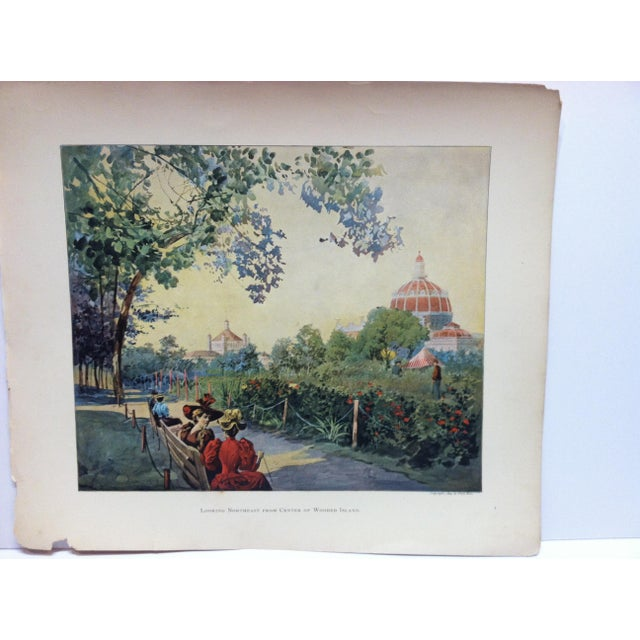 """This is an Antique Print showing the Chicago World's Fair Columbian Exposition that is titled """"Looking Northeast From..."""
