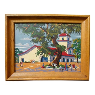 Vintage Mid-Century Paint by Numbers California Mission Scene Painting For Sale