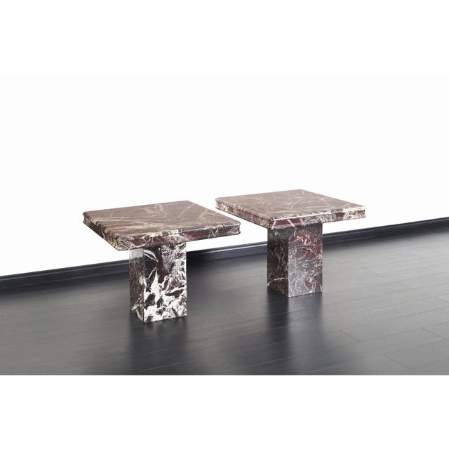 1980s Vintage Italian Marble Side Tables - a Pair For Sale - Image 5 of 11