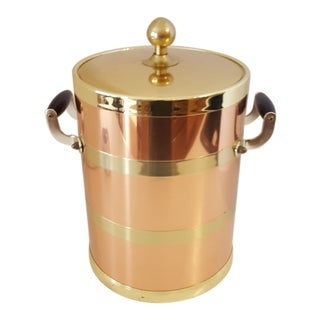 Kraftware Elegance Copper 5 Quart Ice Bucket With Wood Bale Handles For Sale
