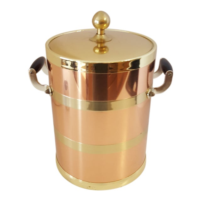 Image of Kraftware Elegance Copper 5 Quart Ice Bucket With Wood Bale Handles