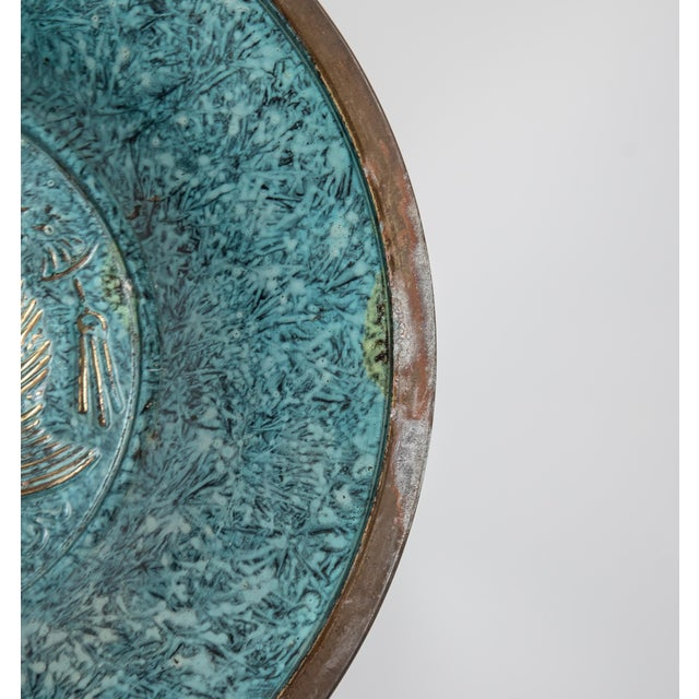 Metal Florintine Green Patina Wall Accent Decorative 12' Plaque / Plate For Sale - Image 7 of 10